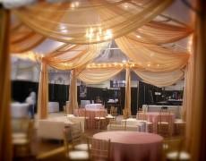 оформление свадебного зала в оранжевых тонах