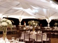Оформление шатра на свадьбу тканью