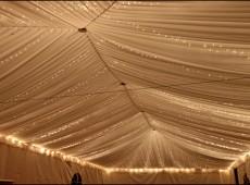 Оформление шатра тканью и подсветкой